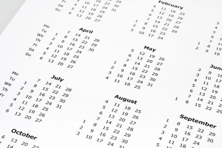detai: close-up of simple white yearly calendar page Stock Photo