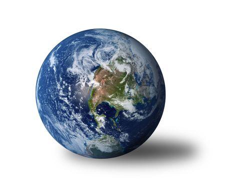 madre terra: Terra isolata con ombra su sfondo bianco