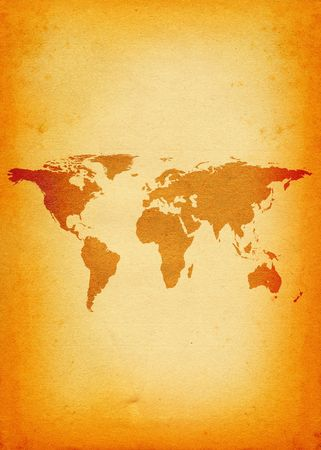 close-up of old grunge world map - vertical  photo