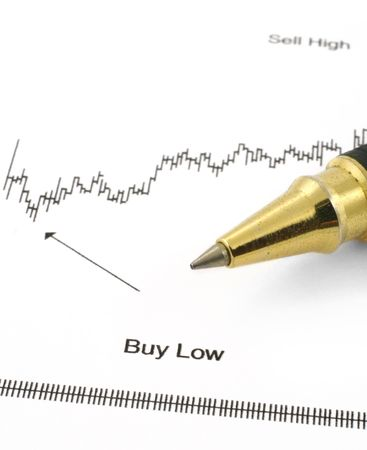 business chart with BUY LOW caption and ballpoint pen Stock Photo - 915727