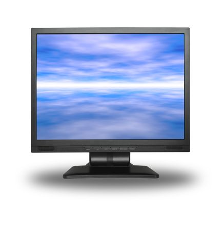 by the lcd screen: LCD screen with abstract sky background isolated on white Stock Photo