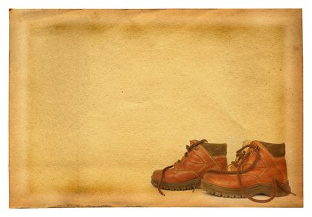 hillwalking: boots profile against retro stained paper background, all isolated on white Stock Photo