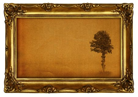 a frill: old painting with lonely tree motive, all isolated on pure white background, photo insde is my property