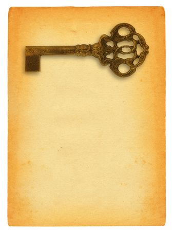 sheet of old paper isolated on pure white background with retro ornamented key motive photo