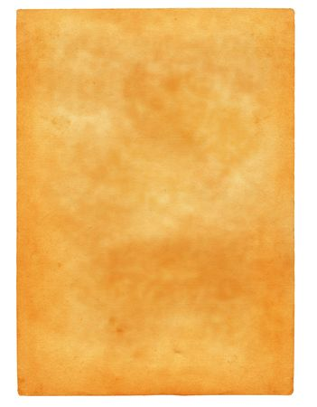 scabrous: sheet of old spotted paper isolated on pure white background Stock Photo