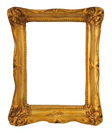 the borderline: close-up of aged golden frame isolated on pure white background Stock Photo