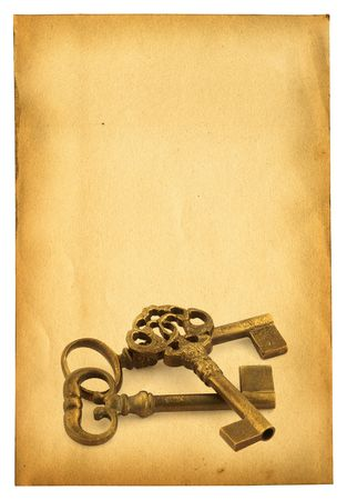 sheet of old paper isolated on pure white background with retro ornamented keys  photo