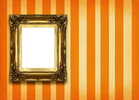 hollow gilded picture frame on retro background photo