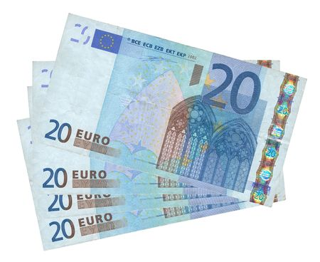20 euro: close-up of four 20 Euro banknotes isolated on white background Stock Photo