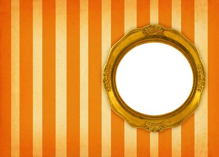 hollow gilded circular frame on retro background photo
