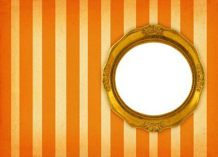 hollow gilded circular frame on retro background photo