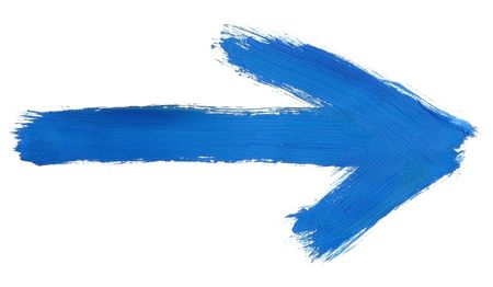 visible: design element - blue hand painted arrow isolated on pure white background, clearly visible traces of brush strokes