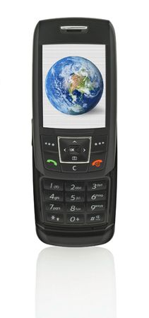 clearly: close-up of slide phone with globe - the image on the screen has a clearly visible net simulating display pixels