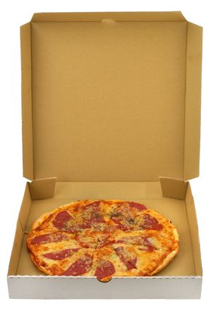 pepperoni pizza in open cardboard box, all isolated on white background