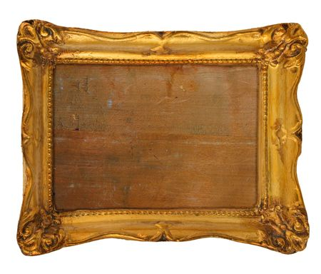 embrasure: old worn out gilded frame isolated on white background