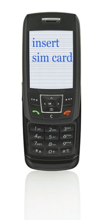 close-up of slide phone with INSERT SIM CARD message, image on the screen has a clearly visible net simulating display pixels photo