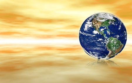 spacial: earth globe against yellow abstract background, small reflection in front of the globe