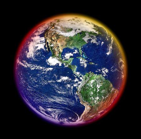 madre terra: madre terra con alone colorato contro il nero