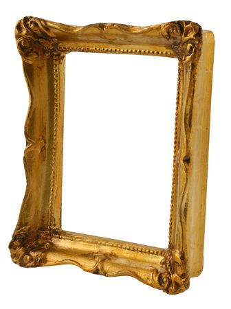 borderline: close-up of old gilded frame from perspective isolated on pure white background Stock Photo