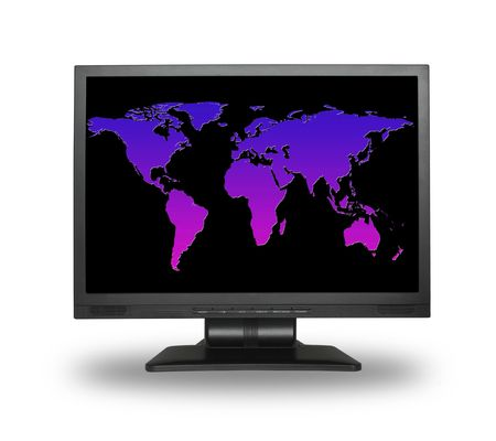flatscreen: lcd screen with colorful world map, gentle shadow in front