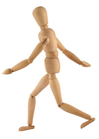 close-up of a running wooden figure isolated on pure white background photo