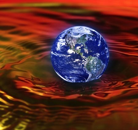 armageddon: concept of armageddon with the earth drowning in red waves