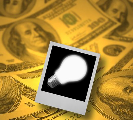 conceptual photo of a business idea (copy space at light bulb for your content) photo
