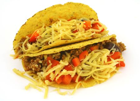 close-up of two delicious Mexican Tacos against white background Stock Photo