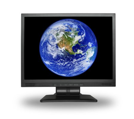 lcd screen with earth, small shadow in front of object Stock Photo - 1187288