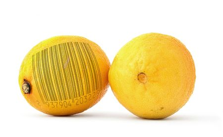 lemons with bar code of non-existing product photo