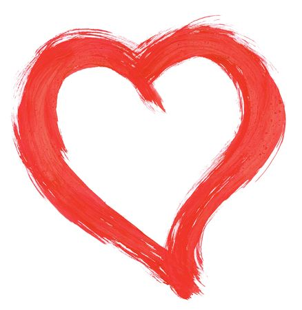 design element - red handpainted heart against pure white background, clearly visible traces of brush strokes photo