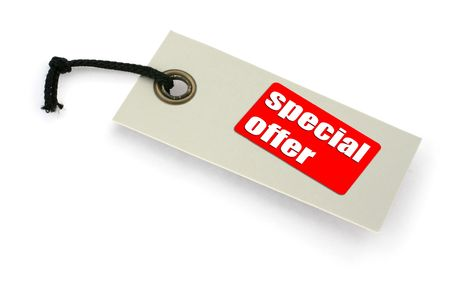 close-up of a Special offer tag against white, a small shadow under it, no copyright infringement