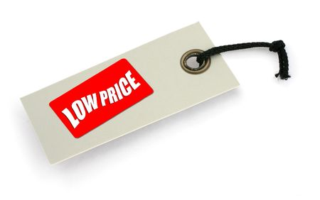infringement: close-up of a Low Price tag against white, a small shadow under it, no copyright infringement