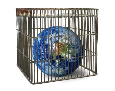 world confined in a cage isolated on white photo