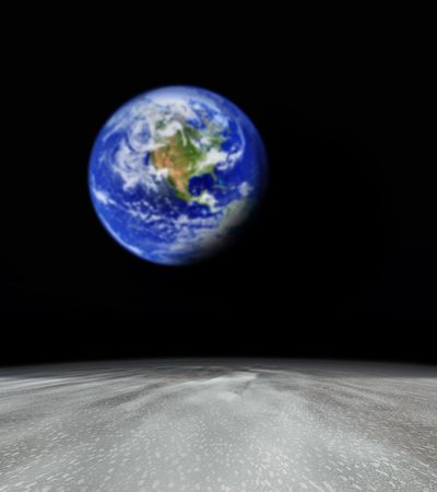 earth viewed from abstract planet (resembling the moon) , focus is set in foreground, globe is blured Stock Photo