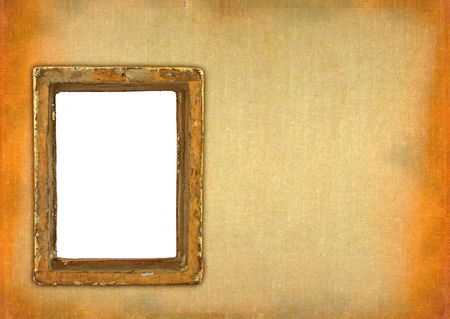 ruined hollow frame against retro stained background photo