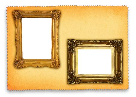 hollow: two hollow antique frames against retro paper background, gentle shadow behind paper, all isolated on white