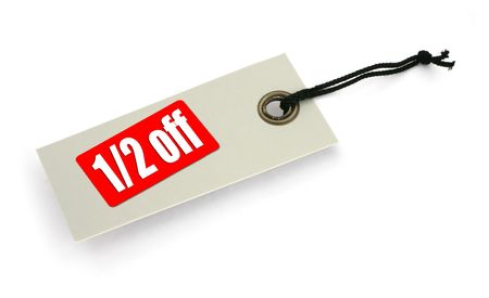close-up of a sale tag against white, a small shadow under it, no copyright infringement