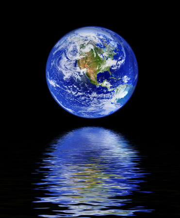 mother earth: globe with water reflection against black background Stock Photo