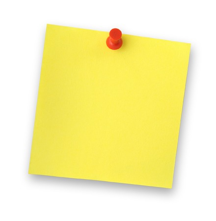thumbtacked: blank adhesive note note against white background, gentle shadow behind