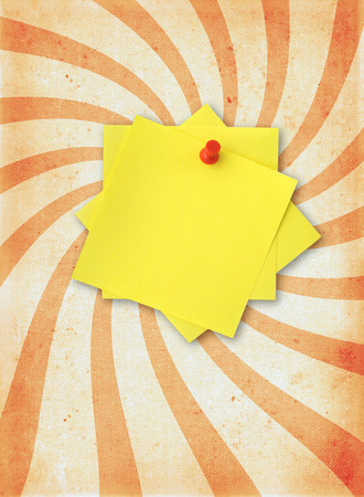 thumbtacked: old rough paper page with adhesive note Stock Photo