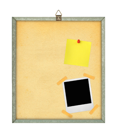thumbtacked: isolated pinboard with adhesive note and photo frame