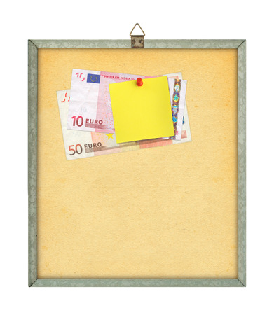 thumbtacked: blank shopping list and money to spend, all isolated on white Stock Photo