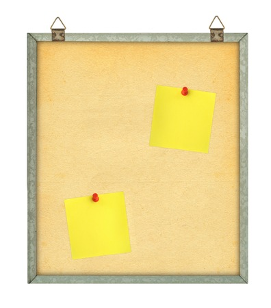 thumbtacked: pinboard with adhesive notes isolated on white background