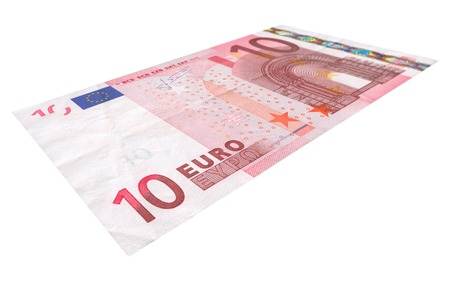 ec: close-up of 10 Euro banknote isolated on white background
