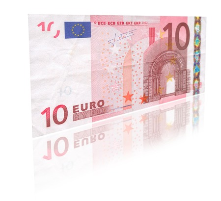 ec: close-up of 10 Euro banknote with reflection against white