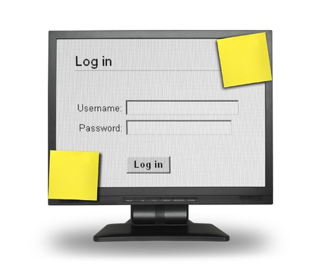 LCD display with Log in screen and two blank sticky notes, content inside is my property, gentle shadow behind and under LCD Stock Photo - 1583753