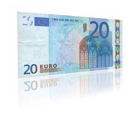 20 euro: close-up of 20 Euro banknote with reflection against white