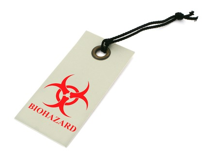 caution chemistry: red biohazard symbol on a price tag against white background