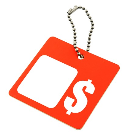 pricetag: tag with dollar symbol and copy space por price, background is pure white  Stock Photo